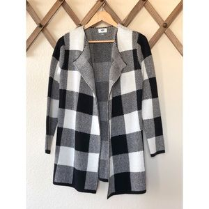 Black and white plaid sweater coat